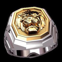 Золотая мужская печатка с изображением льва на площадке 3141
