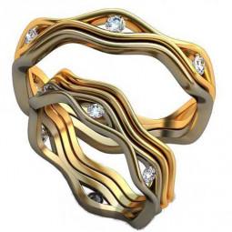 Обручальные кольца с белыми фианитами в обоих кольцах AU2380389