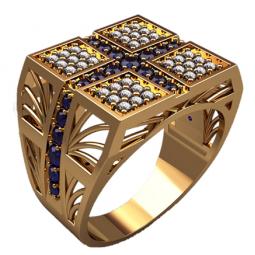 Золотая многокаменная мужская печатка 3146