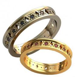 Обручальные кольца с красными и черными фианитами AU1880424