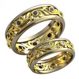 Ажурные обручальные кольца с узорами и камнями AU3310446