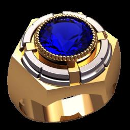 Мужская печатка из комбинированного золота с крупным синим камнем 3131