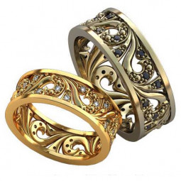 Обручальные кольца с узорами из красного и белого золота AU00120492