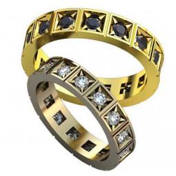 Обручальные кольца с черными и белыми круглымии фианитами AU21770502