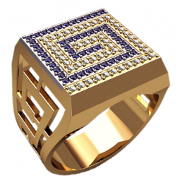 Золотая многокаменная мужская печатка 3154