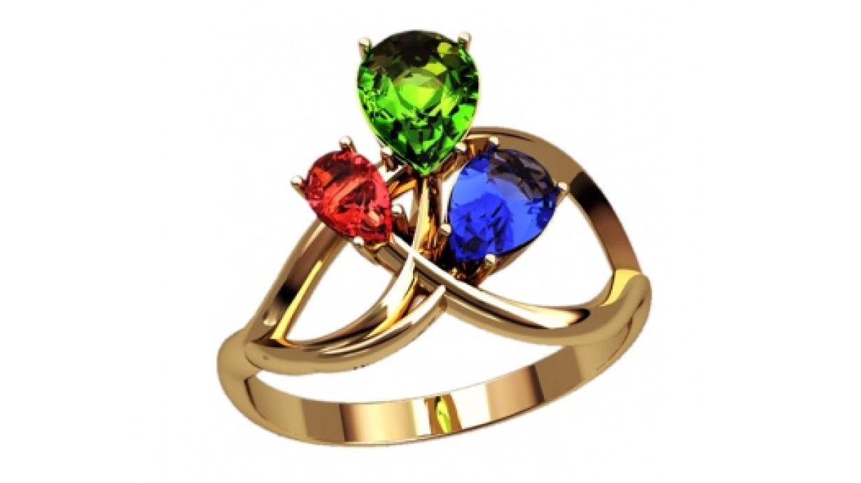 Золотое кольцо с разноцветными фианитами оранки груша 2731 ...