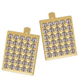 Женские золотые многокаменные серьги квадратной формы 4257