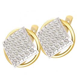 Золотые двухцветные серьги с россыпью камней 4265