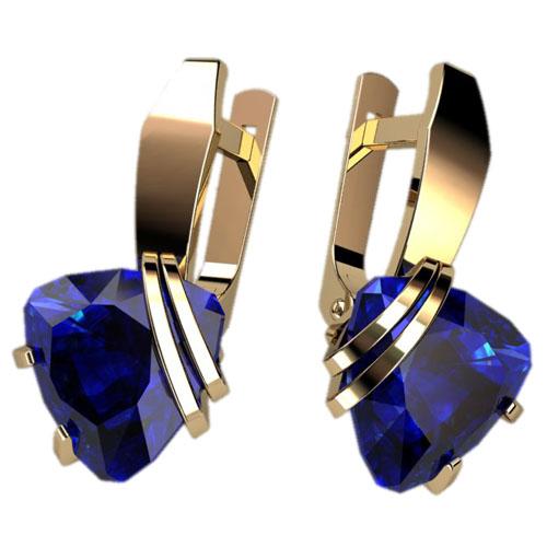 Женские золотые серьги с крупными синими камнями 4293