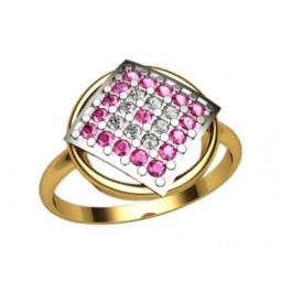 Золотое кольцо с камнями в центральной части 1214