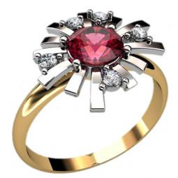 Золотое женское кольцо с камнями 1221