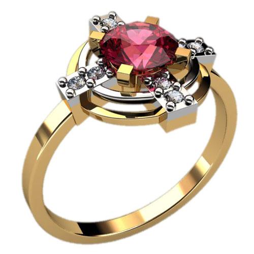 Женское золотое кольцо с круглыми фианитами 1222