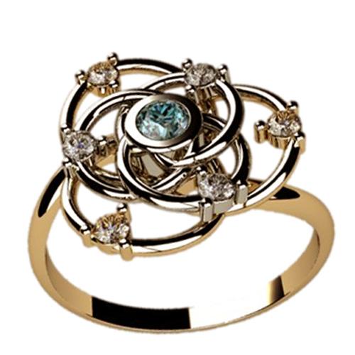Женское кольцо из двухцветного золота с камнями 1223