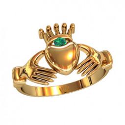 Эксклюзивное золотое женское кладдахское кольцо с небольшим камнем 211180