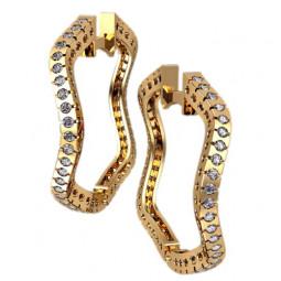 Серьги кольца необычной формы с дорожками фианитов 4334