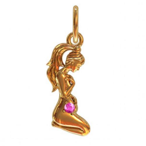 Женская золотая подвеска в форме девочки 411270