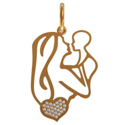 Женская золотая подвеска мама с ребенком 411280