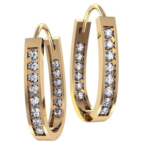 Золотые серьги кольца с дорожками белых фианитов 4352