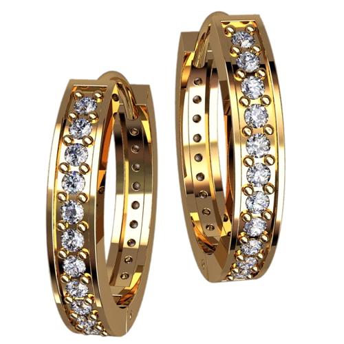 Женские серьги кольца из желтого золота с дорожками белых камней 4357