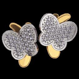 Женские многокаменные сережки в форме бабочек 4367
