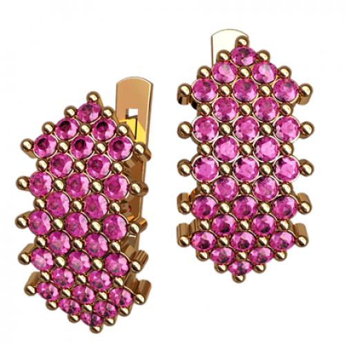 Женские золотые серьги с россыпью розовых фианитов 4462