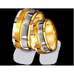 Золотые широкие обручальные кольца с камнями 4411608